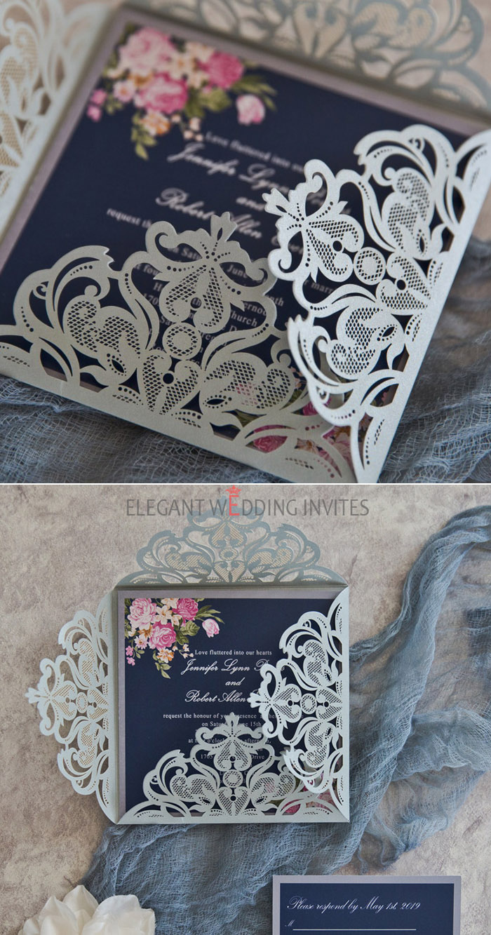 navy blue and pink floral silver laser cut invitations