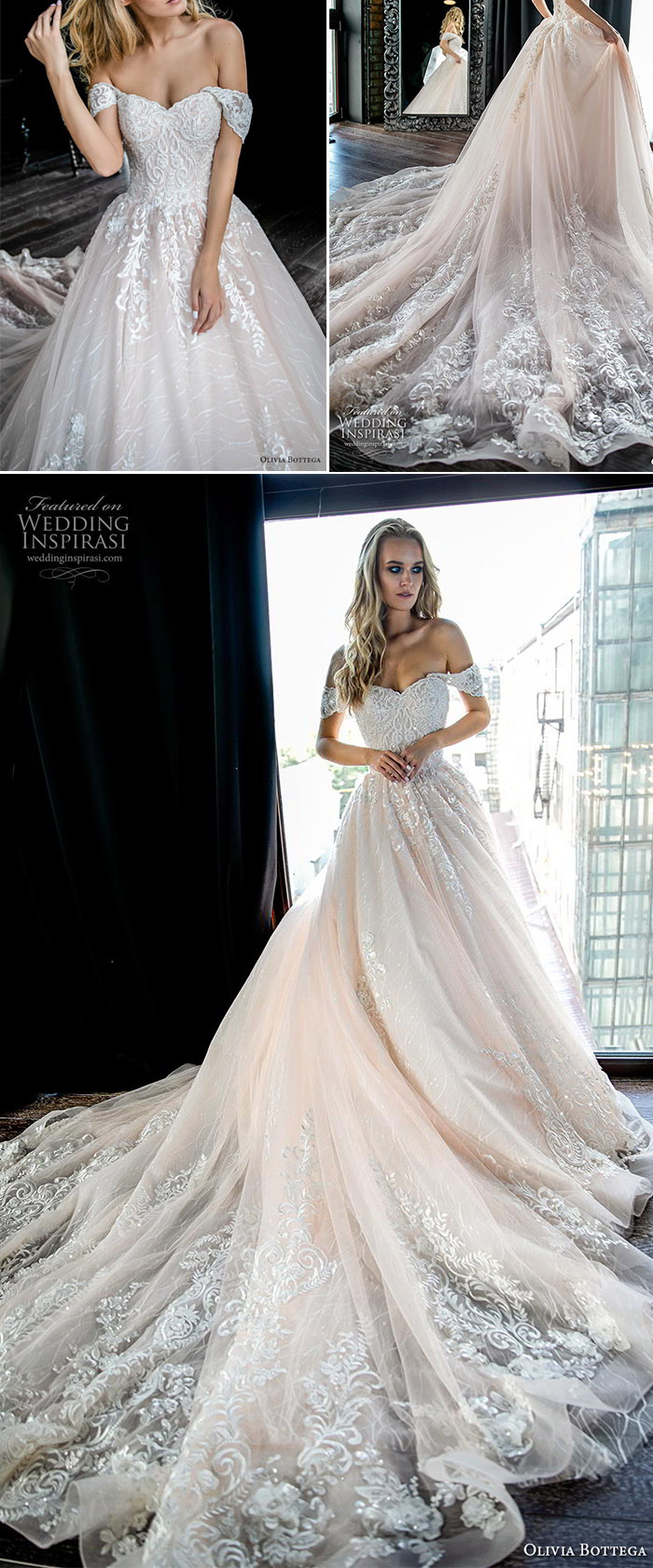 off the shoulder ball gown princess wedding dresses