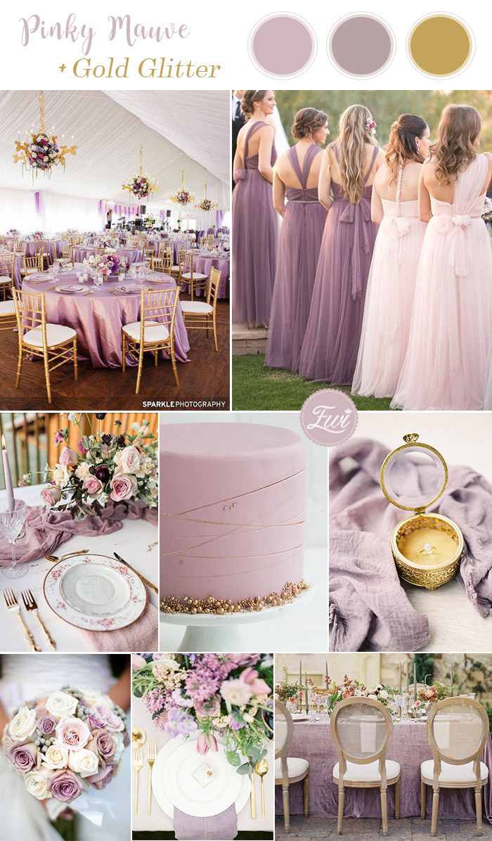 pinky mauve purple and glitter gold wedding color combos