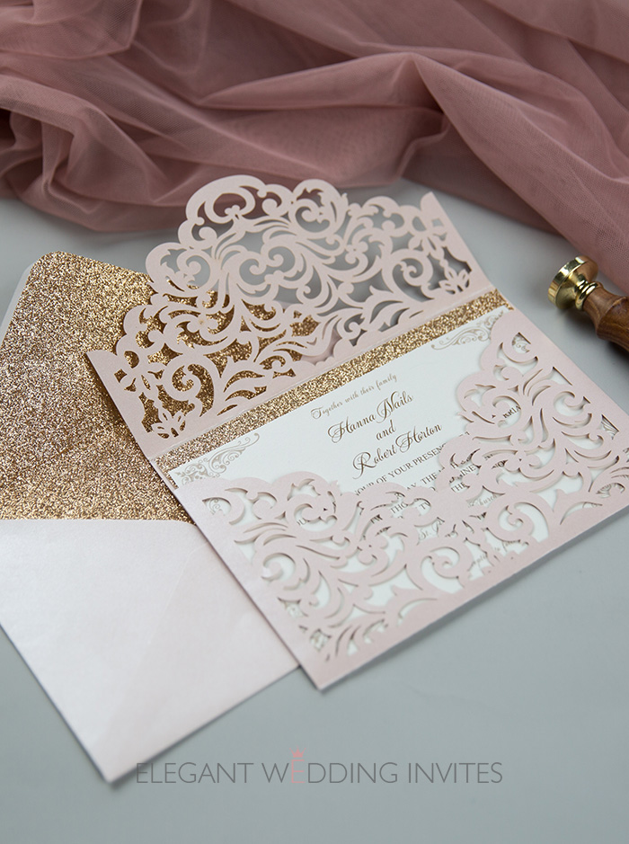 romantic blush sleeve laser cut wedding invitations with rose gold bottom