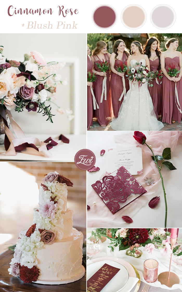 romantic cinnamon rose and blush summer wedding color palettes for 2019