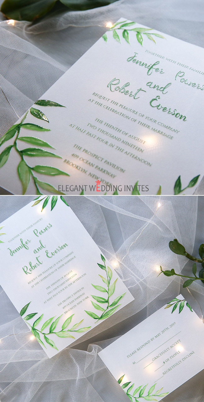 simple greenery vellum paper wedding invitations