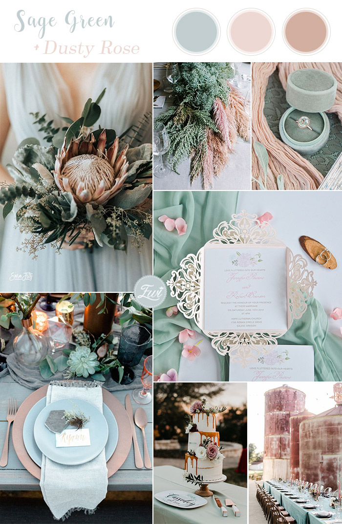 spring and summer sage green and dusty pink wedding colors