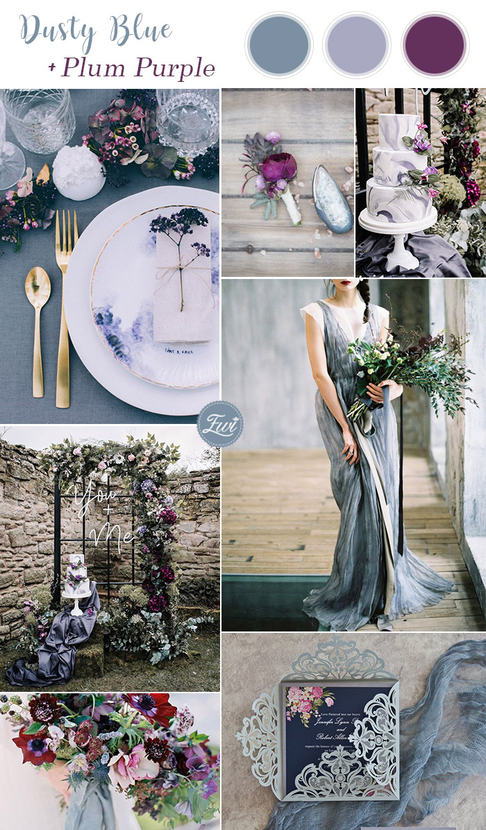 stunning moody dusty blue and plum purple summer wedding colors