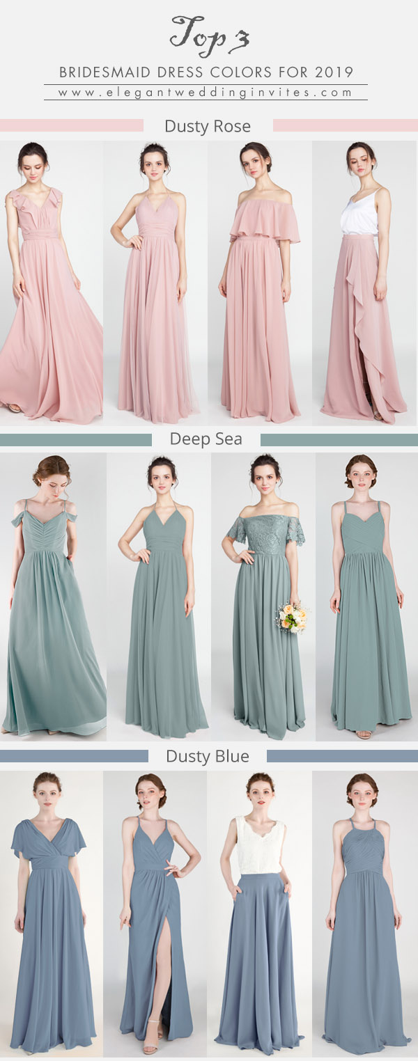 the top 3 bridesmaid dresses colors for 2019 wedding trends