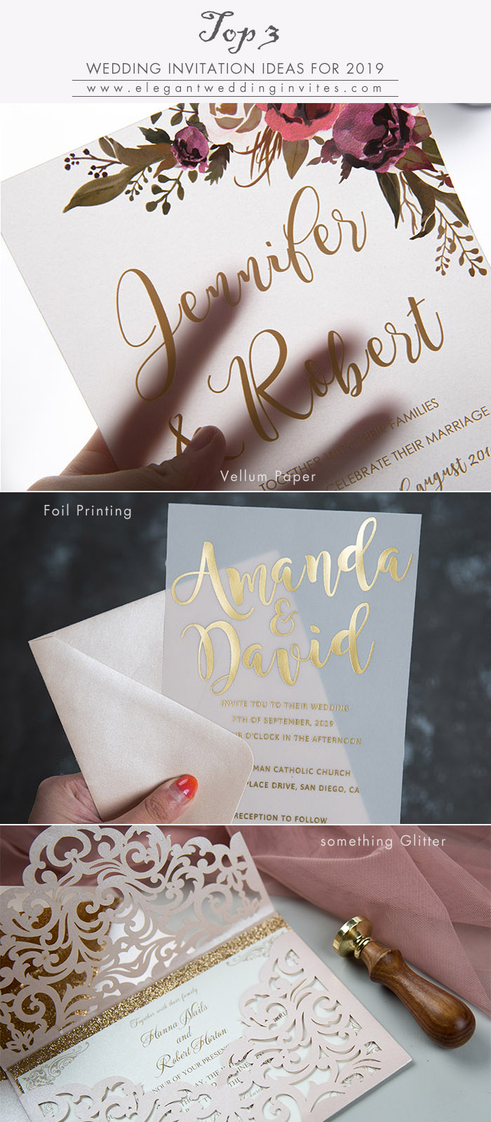 top 3 wedding invitation ideas for 2019 wedding trends