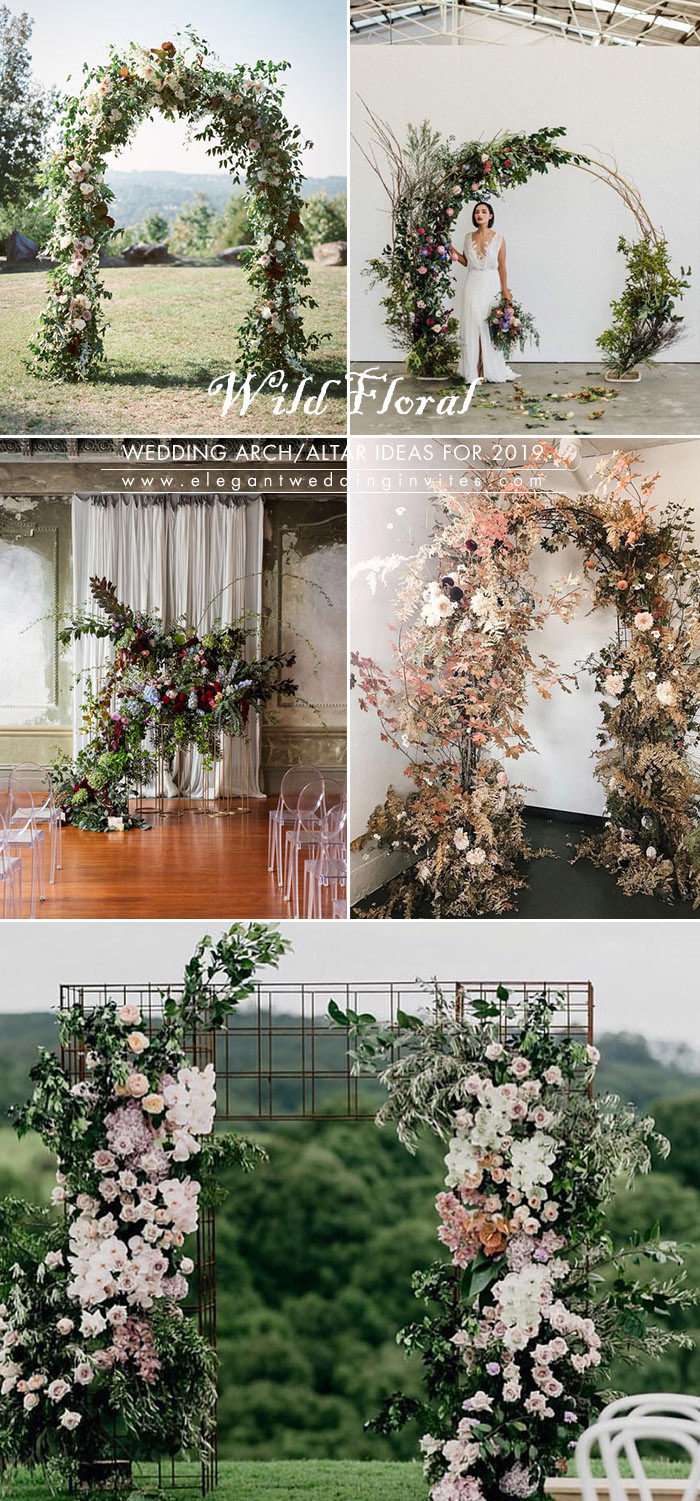 wild and undone floral greenery wedding arch decoration ideas