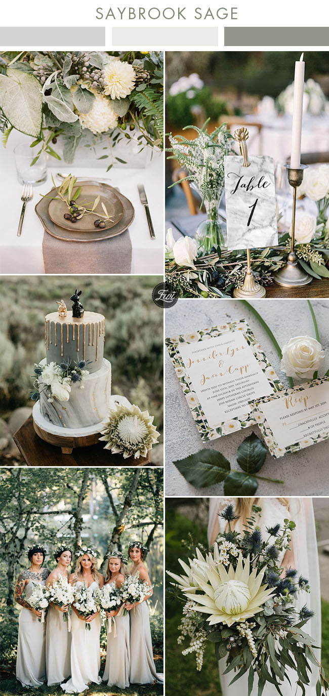 wild woodland saybrook sage and organic green wedding color combos