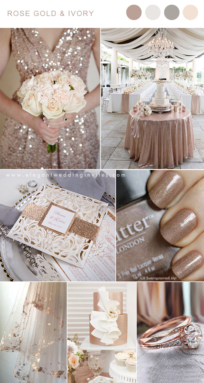 Rose gold and ivory neutral wedding color inspiration