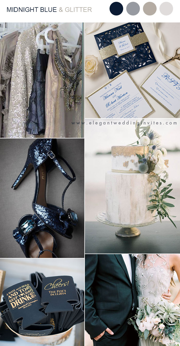 dark navy,neutral shades and glitter wedding color ideas