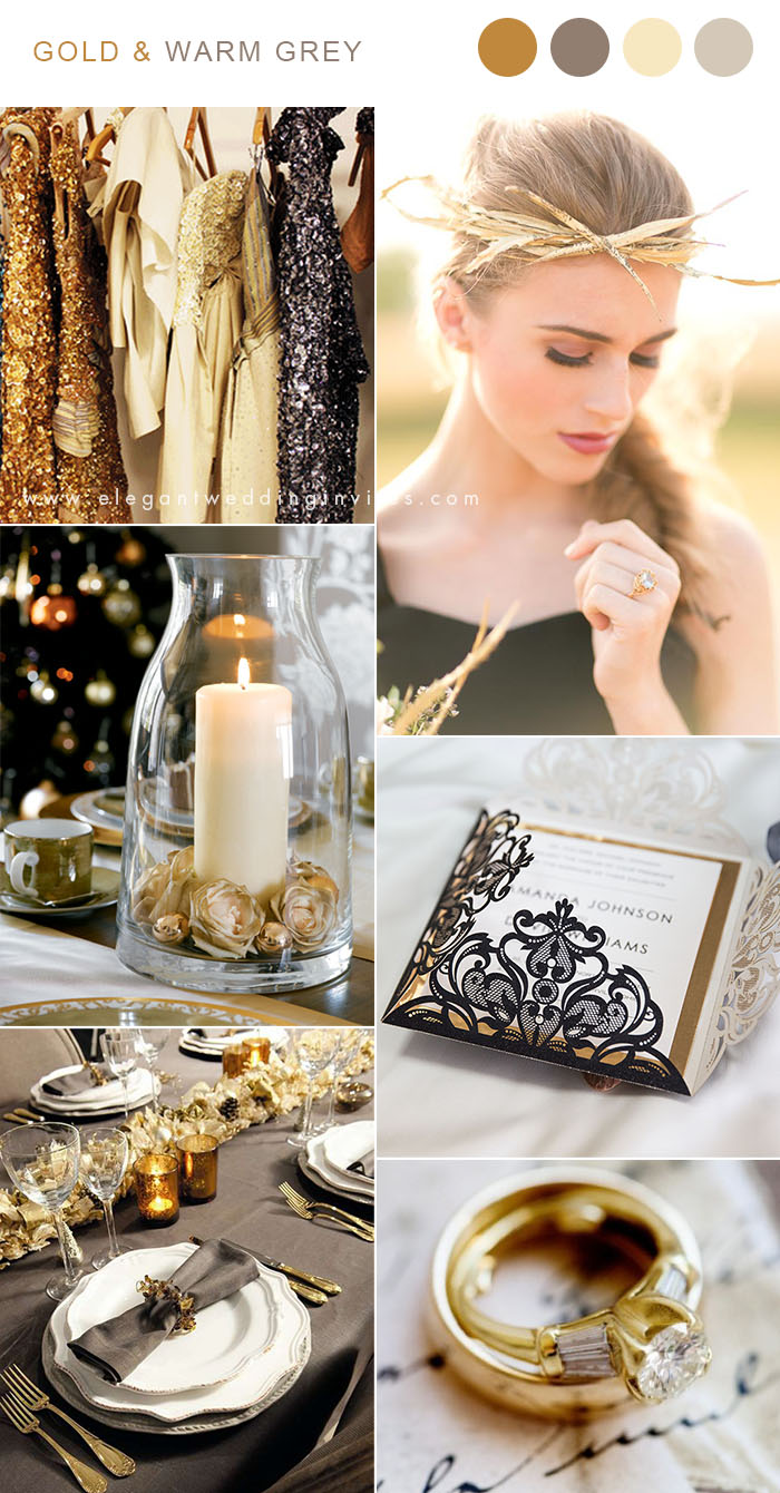 dark warm grey and gold vintage wedding color inspiration