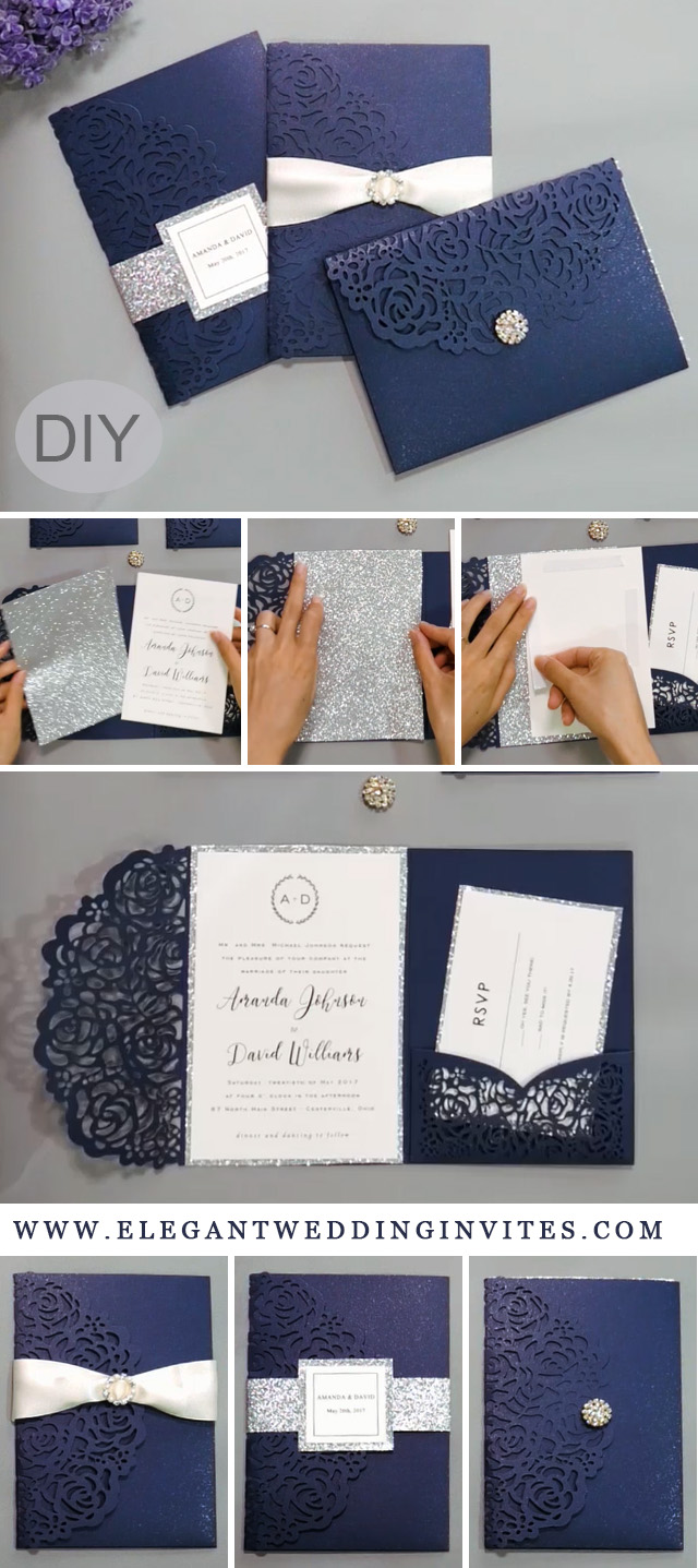 navy blue and silver laser cut wedding invitations