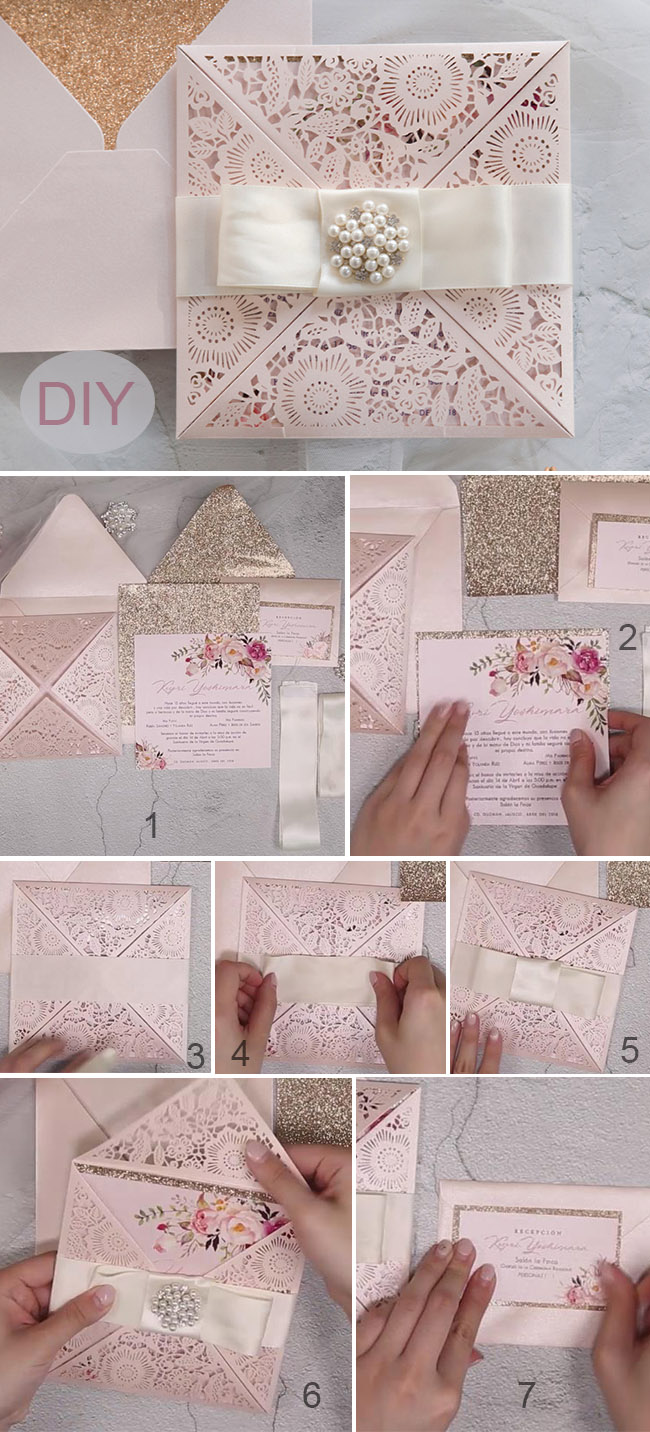Blush and sivler laser cut wedding invitation ideas