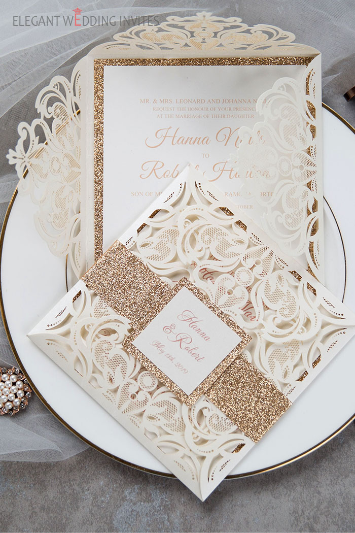 ivory and gold neutral shade laser cut wedding invites