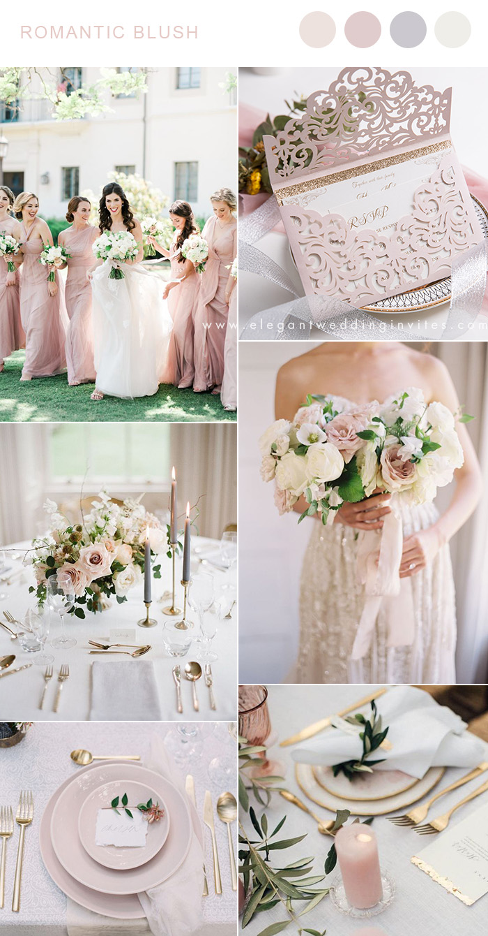 romanic blush and ivory garden wedding color ideas