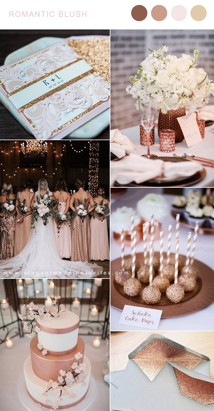 rose gold,dusty blue and blush glamour wedding color ideas