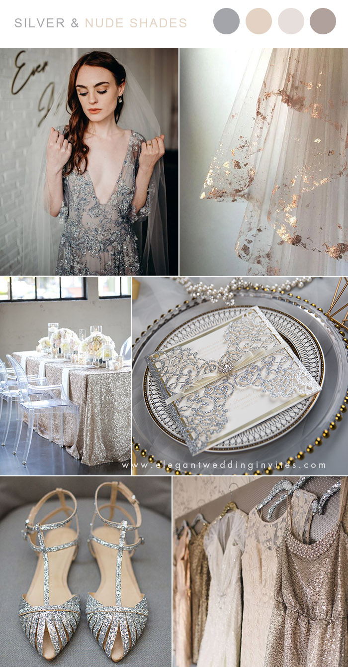 silver grey and nude shades neutral wedding colors