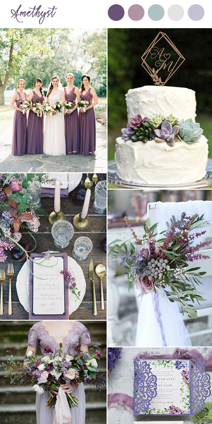 Amethyst and lavender organic greenery garden wedding colors