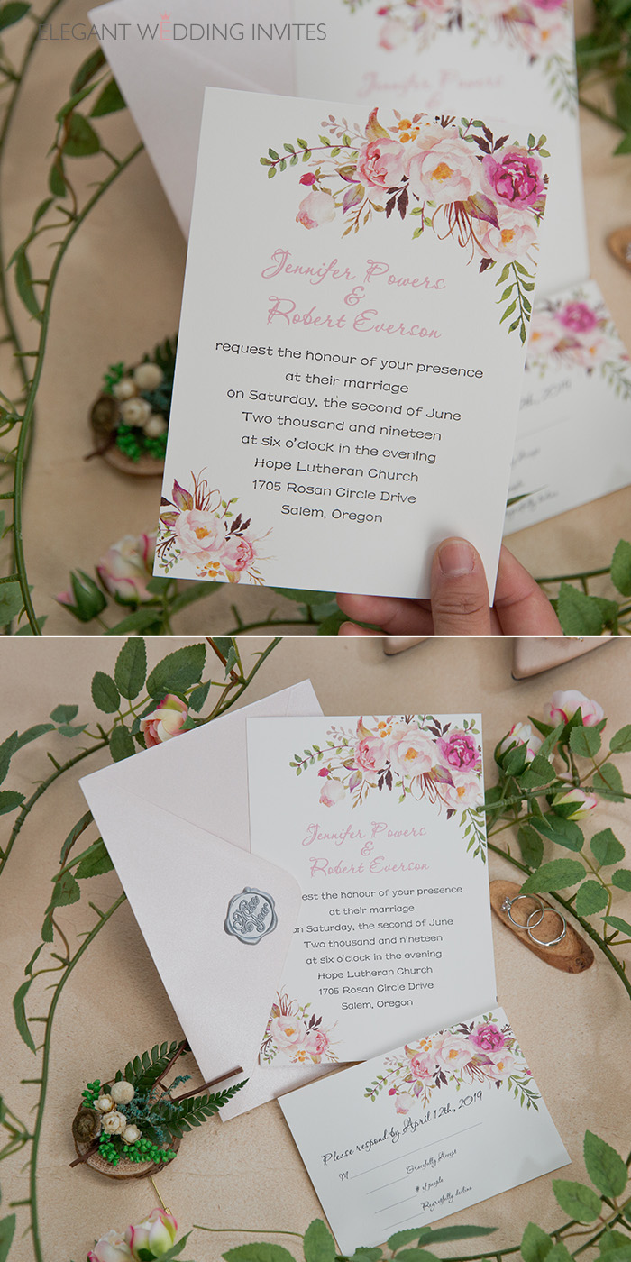 boho style blush floral spring and summer wedding invites