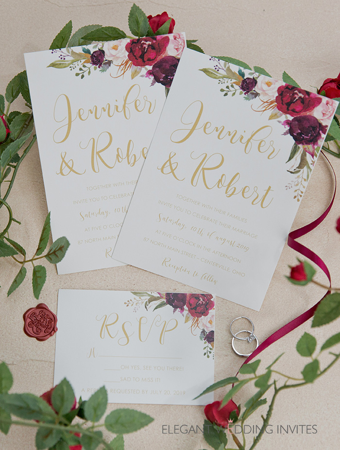 burgundy,blush and marsala floral wedding invitation cards