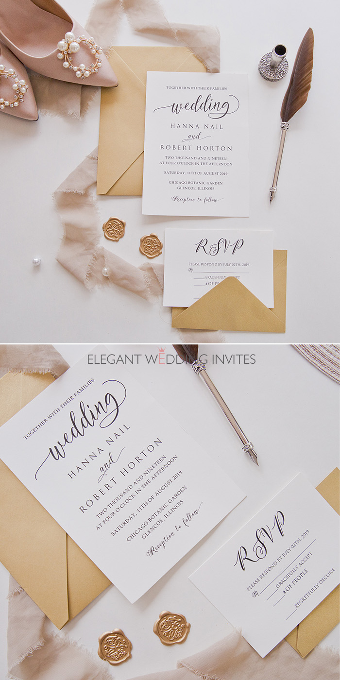 cheap calligraphy wedding invitation cards