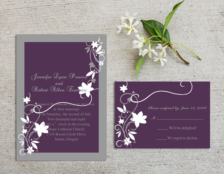 cheap purple and gray wedding invitation cards