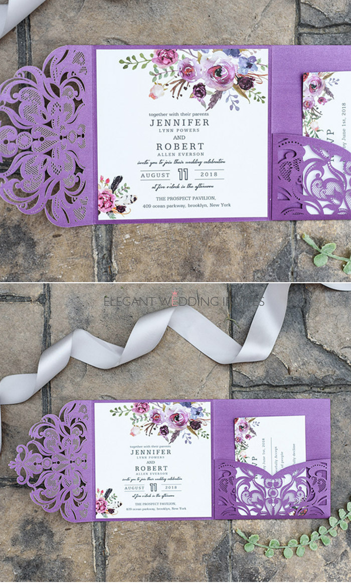 classic fall magenta shades of purple floral pocket laser cut wedding invitations