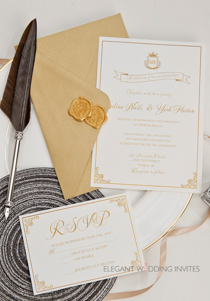 crowning glory crown and regal touches on white wedding invitation