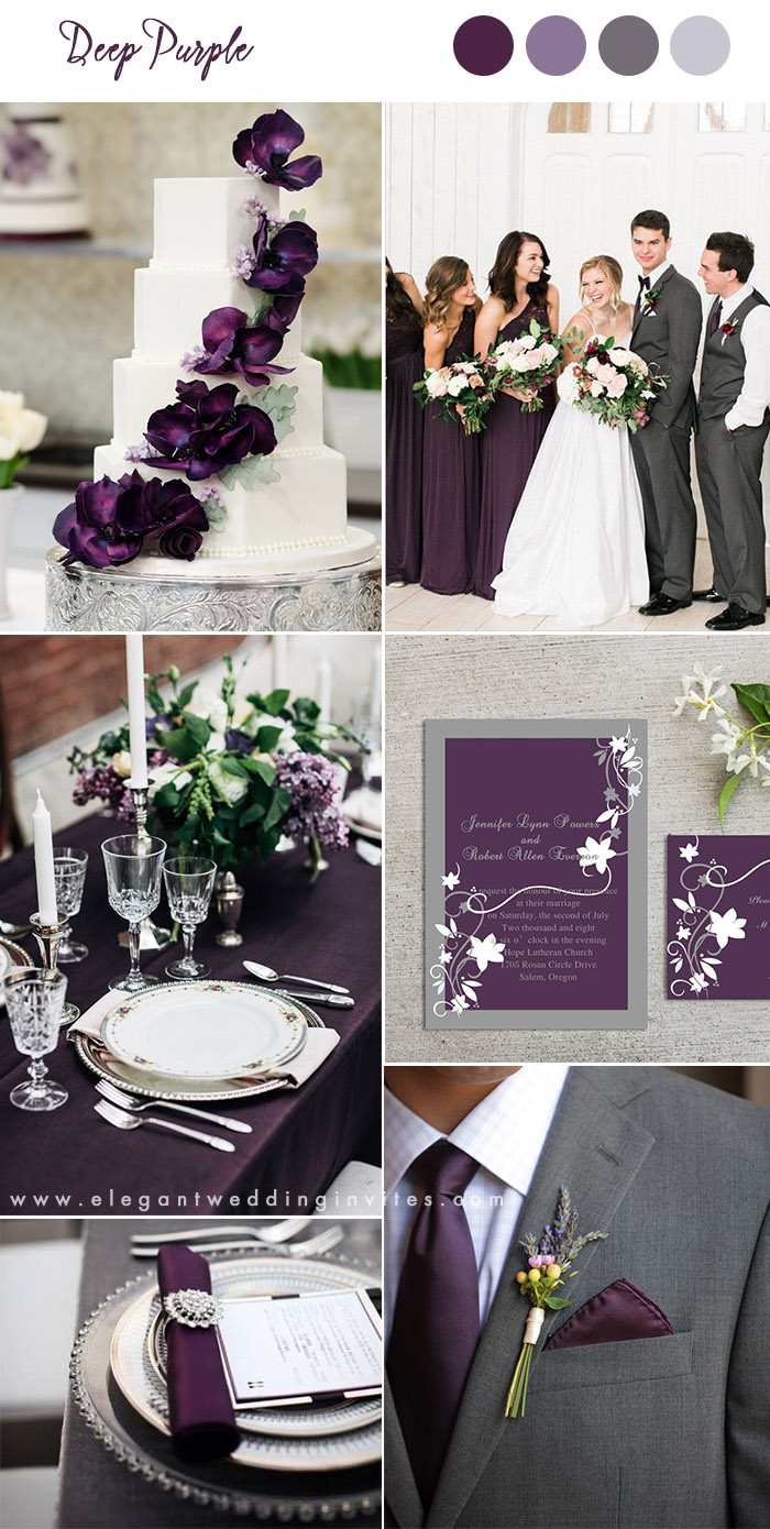 deep purple and gray classic wedding ideas