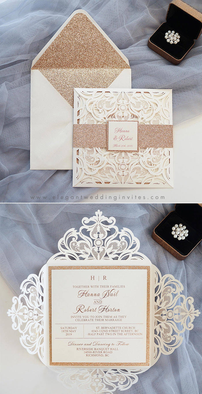 elegant and classic ivory laser cut wedding invitations with rose gold backer