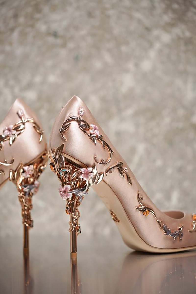 fashionable rose gold bridal high heels