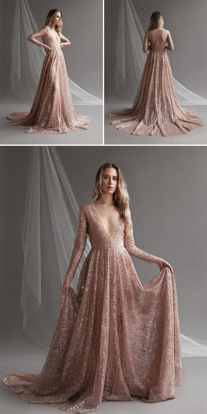 fashionable shimmering rose gold wedding dresses ideas for 2019 brides