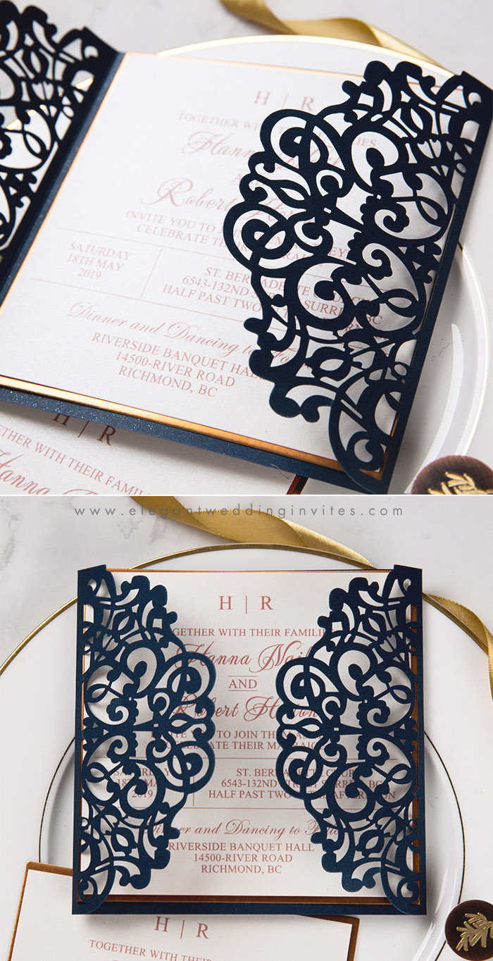 navy blue and mirrored rose gold laser cut wedding invitations