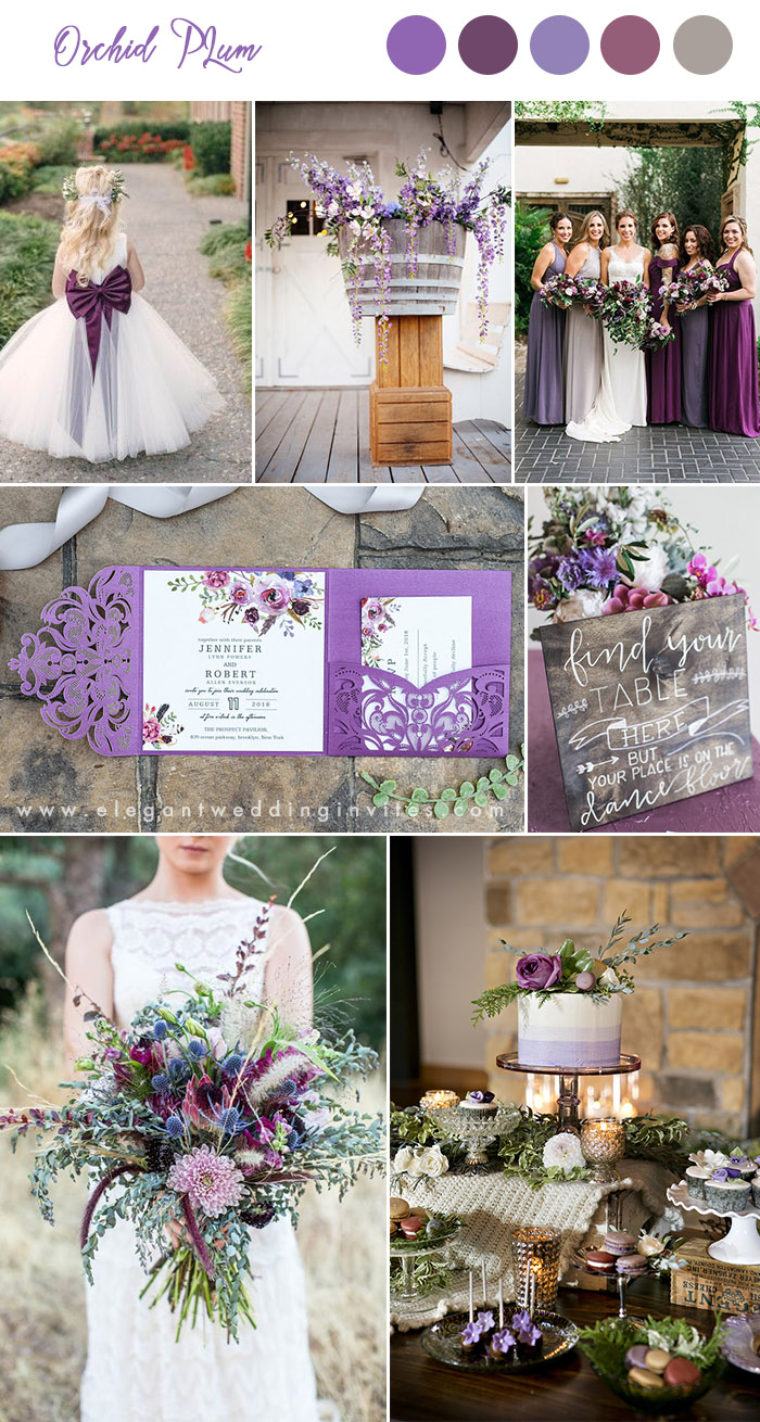 orchid, plum and lilac shades of purple rustic chic wedding colors