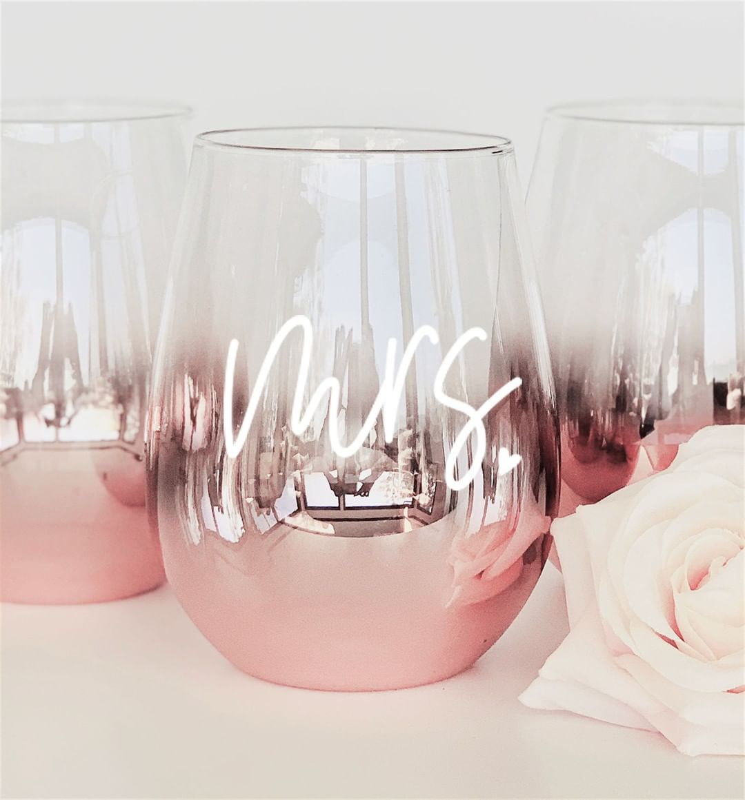 personalized semless rose gold glasses bridesmaid gifts ideas