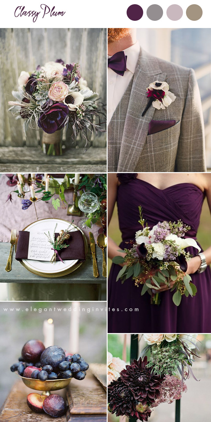 plum and grey organic fall wedding colors