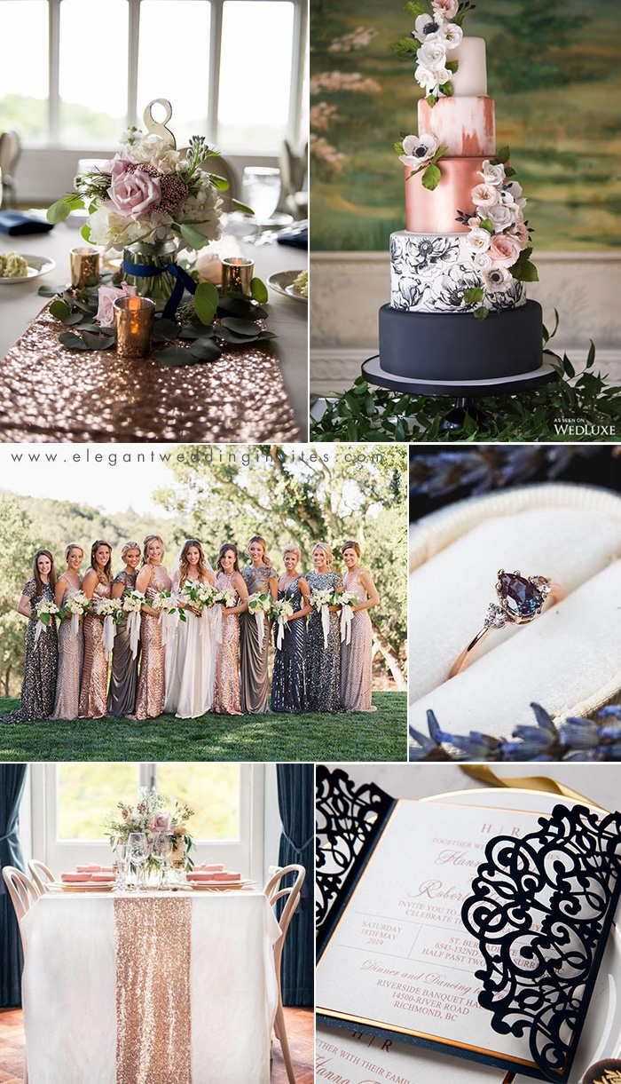 rose gold and dark navy classic wedding color inspiration