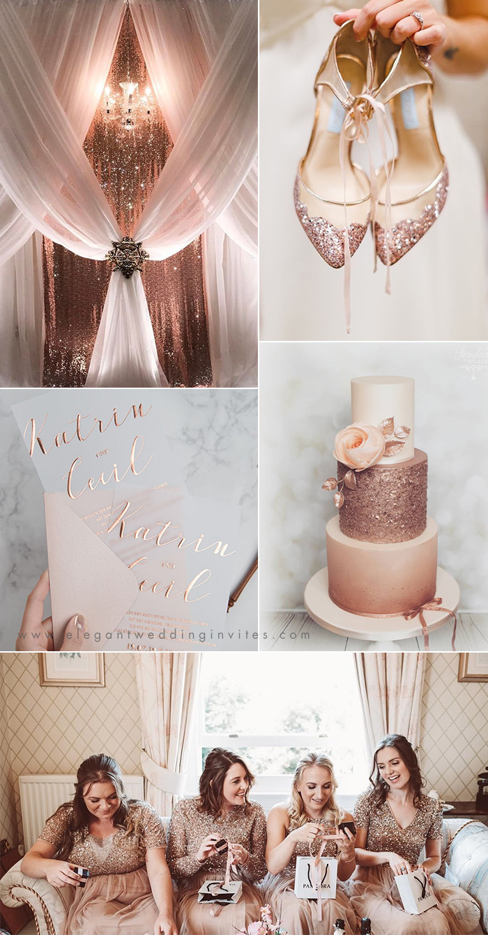 rose gold, blush and white luxury wedding ideas