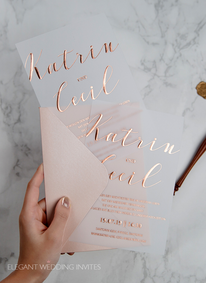 rose gold foil vellum wedding invitation cards