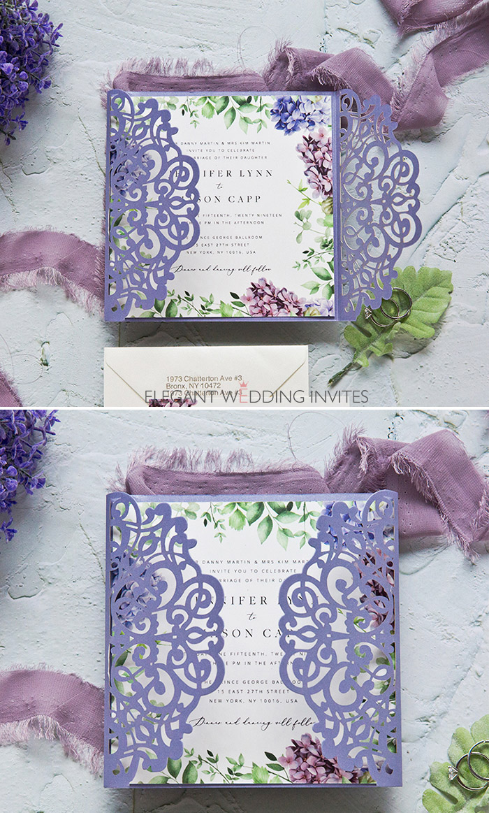 shades of lavender spring and summer laser cut wedding invites