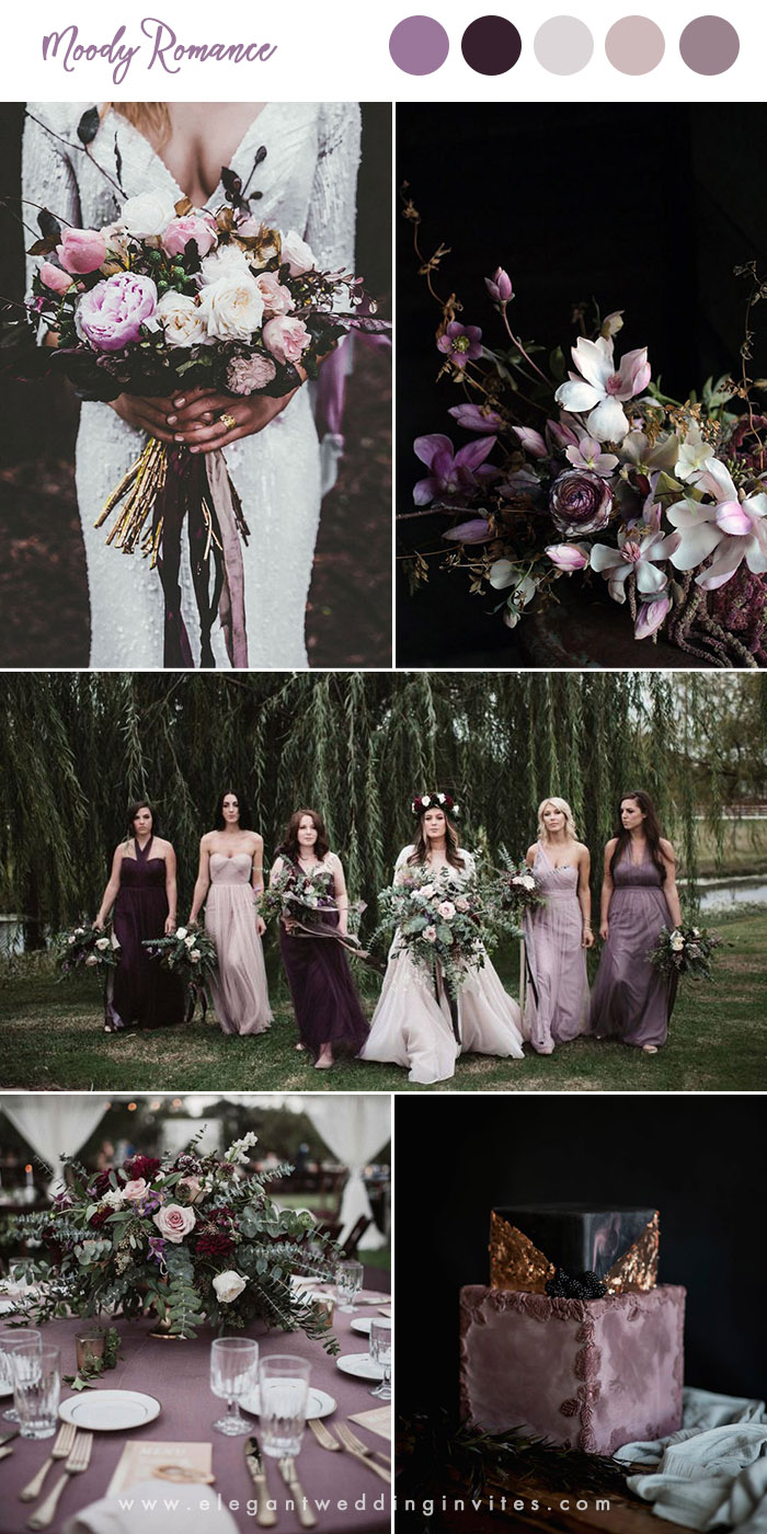 shades of purple moody romance woodland wedding colors