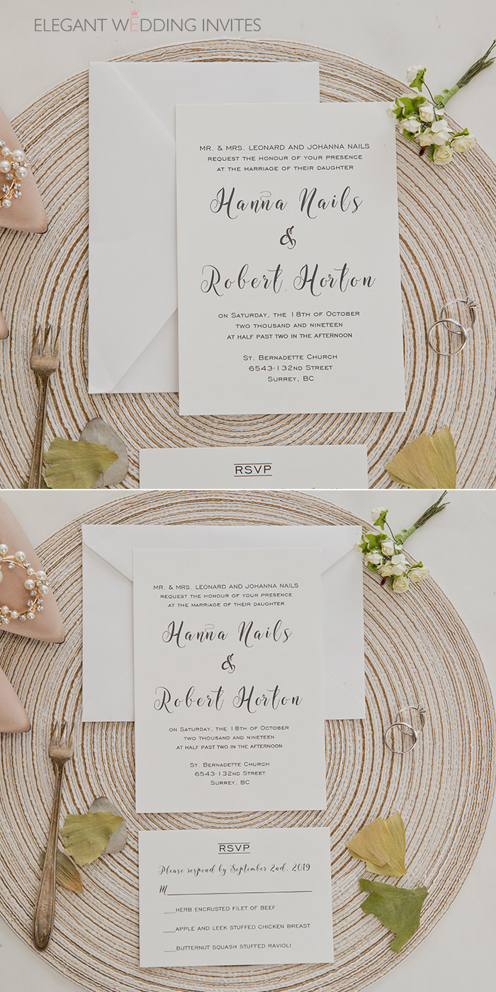 simple classic white typography wedding invitations with classic styling
