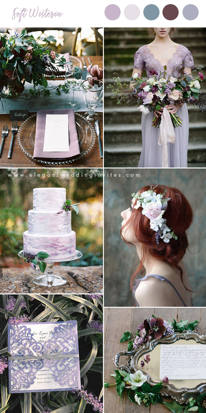 soft wisteria and mulberry greenery wedding colors