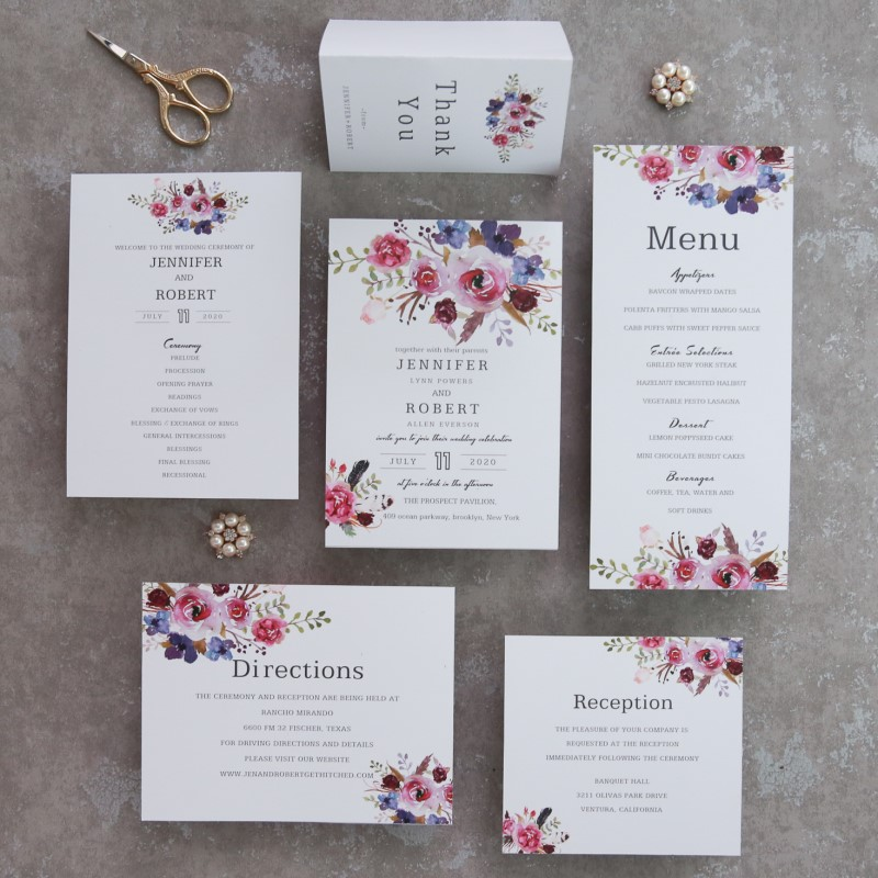 spring magenta shades of purple wedding invitations