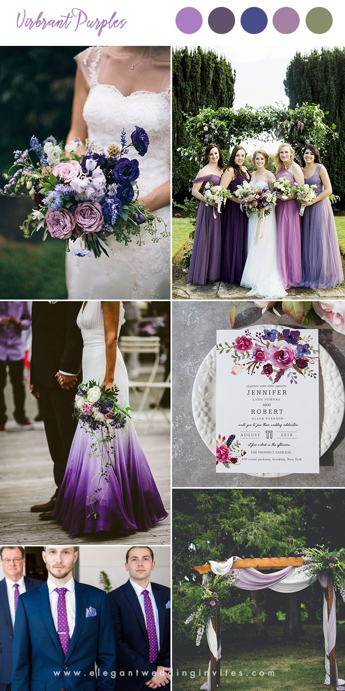 vibrant and bold shades of purple wedding colors