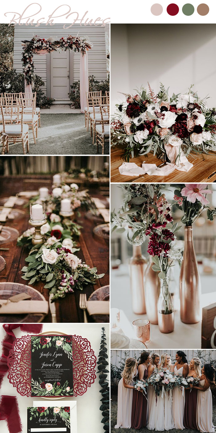 Dark and mooody blush, burgundy and greenry fall wedding colors