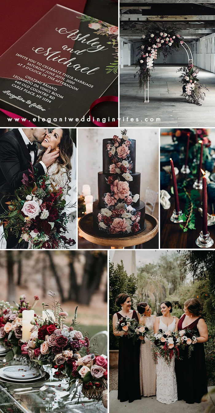 Moody black,wine and blush modern wedding colors