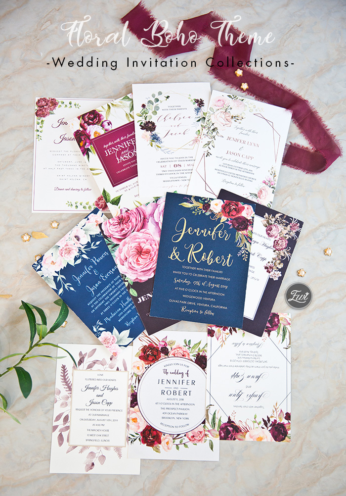 affordable floral boho theme-wedding invitation cards colletions