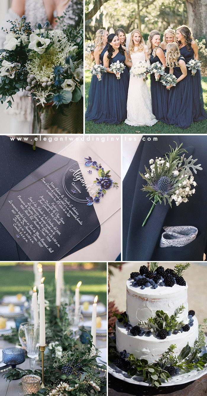 blue and greenery modern chic wedding colors