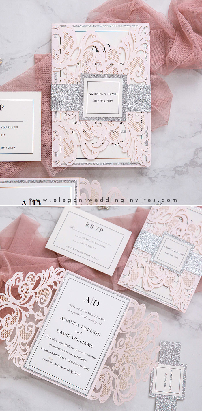 blush and silver classic wedding invitations